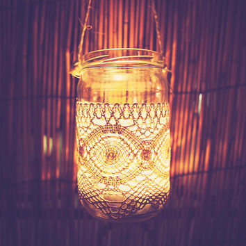 HANGING CANDLE JARS in glass, covered with lace, crochet..