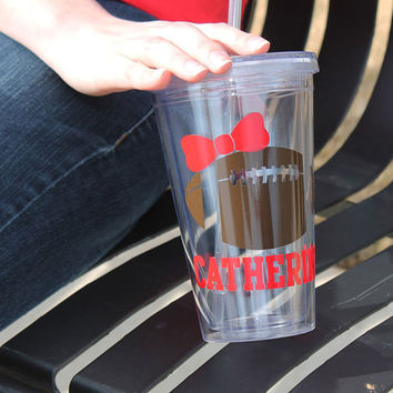 Personalized Football and Bow Acrylic Tumbler Cup with Collegiate Name