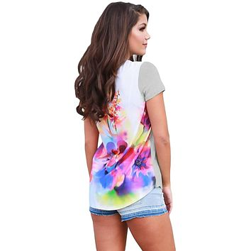 Floral Wonderland Gray Short Sleeve Shirt