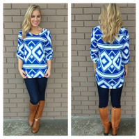 Royal Blue Diamond Knit 3/4 Sleeve Top