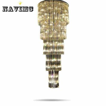 Crystal Glass Ceiling Light Fixture Large lustre de cristal lamp for staircase, stairs, Crystal Stair Lamp for hotel and project