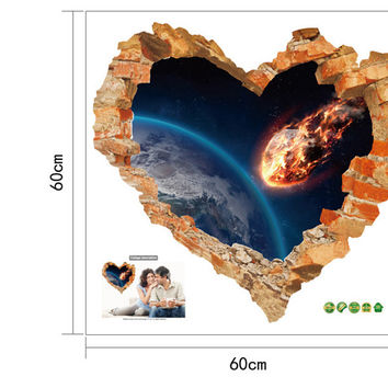 Love Heart Broken Wall Outer space wall Stickers Decals Art Living room Bedroom Home decor 3d Effect Poster SM6