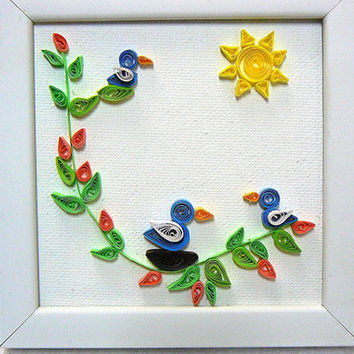 Hand Quilled Paper Art Framed Picture, Birds, Branch, Leaves, Sunshine, 4 x 4 Canvas