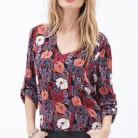 LOVE 21 Hibiscus Print Blouse Black/Teal