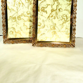 8 x 10 Ornate Gold Picture Frame Mid Century Hollywood Regency Metal Filigree Easel Back Tabletop Gold Frame Shabby French Cottage