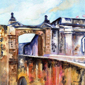 Old San Juan, Puerto Rico, Fort, 8x10, Original Watercolor, Castillo de San Cristobal, Entrance gate, Architecture, Landscape