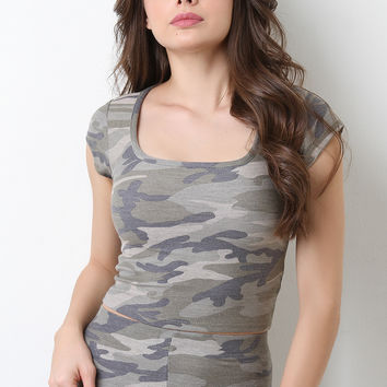 Short Sleeve Camouflage Crop Top
