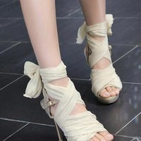 High Heel Chiffon Lace Up Sandals for Women Beige 061626 from topsales