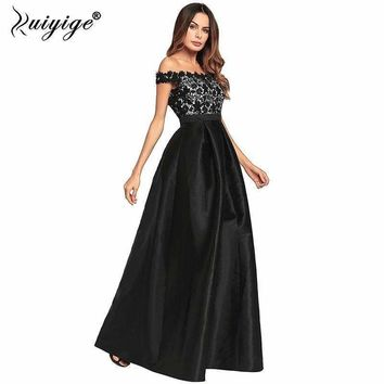 Ruiyige Women Evening Party Sexy Strapless Lace Patchwork Maxi Dress Backless Zipper Hide Elegant Lining Long Prom Vestido