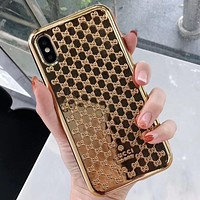 GUCCI tide brand plating iPhone7 mobile phone shell female models all-inclusive hard shell Gold