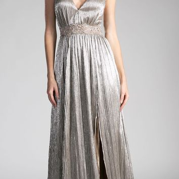 Gold-Foil Beaded Strap and Waist V-Neck Evening Gown with Slit