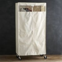 Work Mobile 3-Shelf Garment Rack with Dust Cover