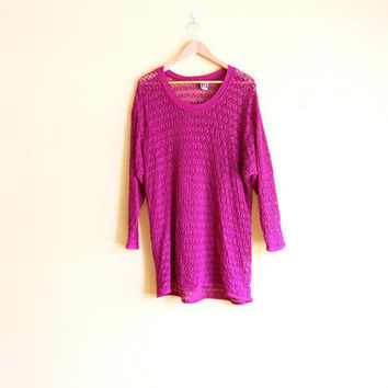 Vintage 90s Purple Crochet Dress - Women Crochet Tunic Purple Dress Knit Dress Long Sleeve Dress 90s Clothing 90s Crochet Clothing Cover Up