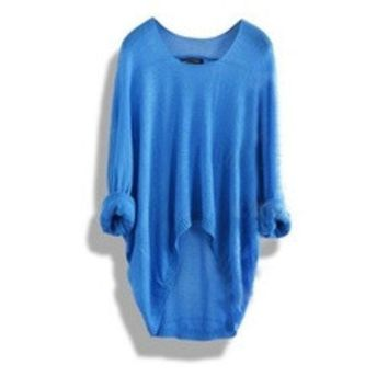ca PEAPTM4 Apricot Batwing Sleeve Loose Asymmetric Casual Sweater for Women [8383749191]