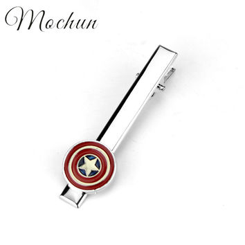 MQCHUN Movie Star Wars Star Trek Deadpool Avengers Batman Superman Spiderman Iron MAN The Flash Tie Clips For Men Wedding Gift