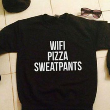 DCCKJ1A Plus velvet thick sweater black men and women with the same wifi pizza sweatpants
