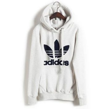 "Womens White ""Adidas"" Print Hooded Pullover Tops Sweater Sweatshirts"