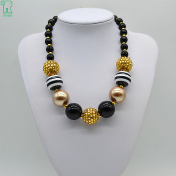 1Pcs New Arrival Christmas Baby Girls Black Chunky Beads Necklace Chunky Bubblegum Beads Necklace For DIY Jewelry Making