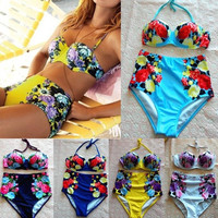 2015 Newest Style Retro Vintage Sexy High Waist Bikini brazilian Women Lady Girl's Bandage Swimsuit Push Up Bikinis Sets Swimwear = 1956900740