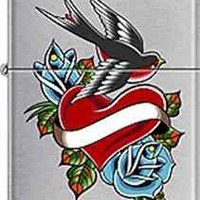 Zippo CM6352 heart bird flower tattoo RARE Lighter