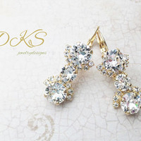 Swarovski Bridal Earrings, Lever Backs, Drops, Dangles, Crystal, Gold Setting, DKSJewelrydesigns, FREE SHIPPING