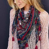 Ecote Bombay Floral Tassel Eternity Scarf-