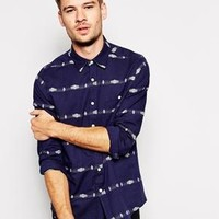 ASOS | ASOS Shirt In Long Sleeve With Fairisle Stripe at ASOS