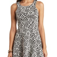 TRIBAL JACQUARD CUT-OUT SKATER DRESS