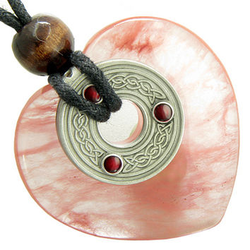 Celtic Triquetra Knot Protection Amulet Simulated Cherry Quartz Crystal Heart Pendant Necklace