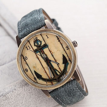 Green Blue Beige Busines Gift Fashion Unisex Polished Dail Jeans PU Band Vintage Watch (With Thanksgiving&Christmas Gift Box)= 1956375876