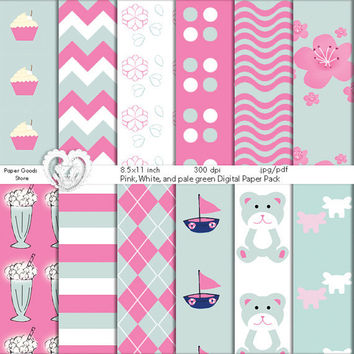 Digital Paper Goods Pastel Green Digital Scrapbooking Paper Pack - Polka Bear Ship Shake Elephant Sakura Chevron Cupcake