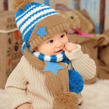 New Winter Kids Hat Smile Star Print Children Beanies Scarf Hat Set for Baby Boys Girls Baby Knitted Hats Caps