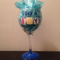 It's a Boy It's a Girl new baby handpainted wine glass