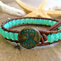 Beachy leather wrap bracelet - Blue Water - boho bohemian jewelry, beach jewelry, opal glass beads, surfer girl