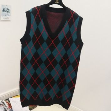 Autumn and winter wild knit vest in the long section of the diamond-style plaid college sweater vest female Blue-green