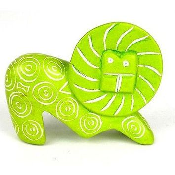 Handcrafted Mini Soapstone Lion African Art Sculpture Lime