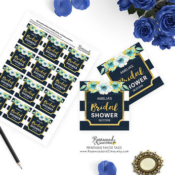 Printable Bridal Shower Favor Tags, Blue Bridal Shower Tags, Floral Bridal Shower, Printable Shower Favor Tags, Printable Favor Tags