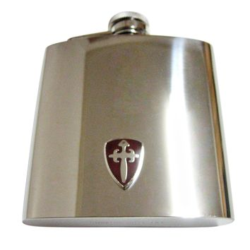 Brown Medieval Shield 6 Oz. Stainless Steel Flask