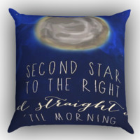 Peter Pan Inspired Quote Flying Moonlight  Y0714 Zippered Pillows  Covers 16x16, 18x18, 20x20 Inches