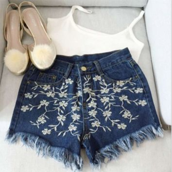 Fashion Casual Large Size High Waist Embroidery Flower Tassel Retro Shorts Jeans Hot Pants
