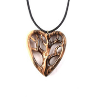 Wooden Heart Pendant, Wooden Pendant, Wood Jewelry, Tree of Life Necklace, Tree Pendant, Wood Carved Pendant, Wood Heart Necklace