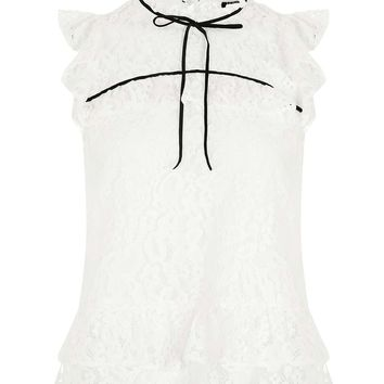 Short Sleeve Lace Ruffle Top | Topshop