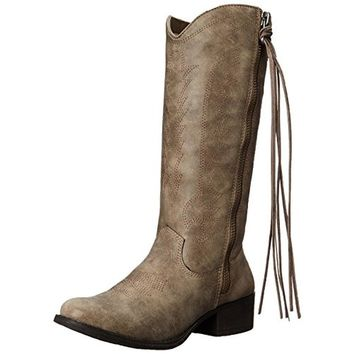 Madden Girl Womens Durant Faux Leather Stacked Heel Cowboy, Western Boots