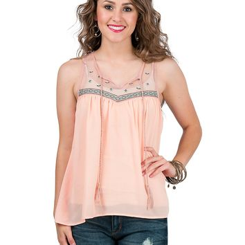 Flying Tomato Women's Peach with Teal and Navy Embroidery Sleeveless Chiffon Fashion Top