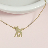 Dainty bambi deer necklace, everyday jewelry, delicate minimal jewelry
