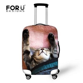 FORUDESIGNS Travel on Road Kawaii Animal Sleep Cat Pattern Luggage Protective Cover for 18- 30 Inch Suitcase Travel Accessories