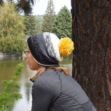 The Mt Hood Beanie in Ombre Shades of Black, Grey and Ivory with Yellow Pom Pom, Slouchy Beanie,  Pom Pom Beanie, Ski Hat, Snowboard Beanie