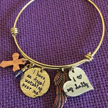 Memorial Bracelet - Memorial Jewelry - I have an Angel watching over me - Sympathy Gift - Remembrance