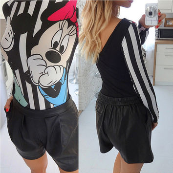 Black Mini Mouse Print Long Sleeve One Piece Wear