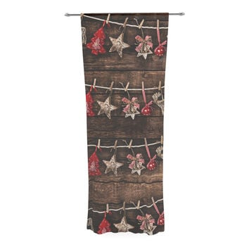 "Snap Studio ""Hanging Around"" Brown Red Decorative Sheer Curtain"